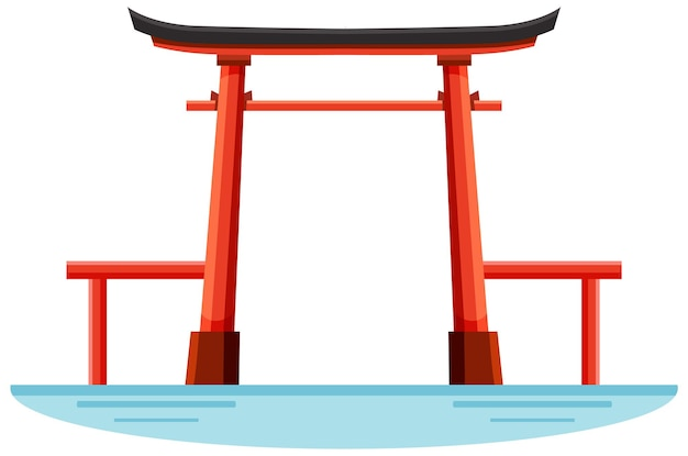Un punto di riferimento della porta torii del santuario shintoista in giappone