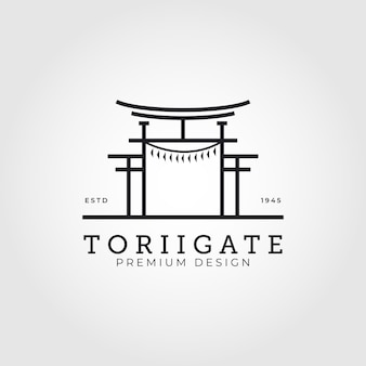 Torii gate logo japanese culture vector symbol minimal illustration design