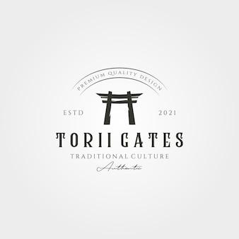 Torii gate vintage logo vector japanese architecture illustration design