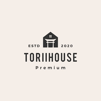 Torii house  vintage logo  icon illustration