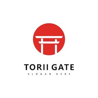 鳥居ロゴアイコン日本のベクトルイラストデザイン
