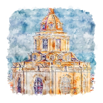 Torino turin italy watercolor sketch hand drawn illustration