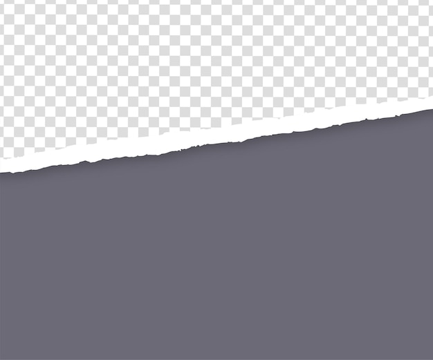 Torn gray paper edge on transparent
