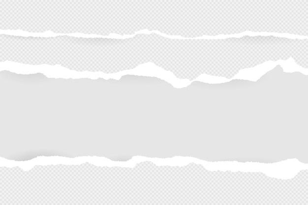 종이의 사각형 가로 회색 줄무늬에서 찢어진