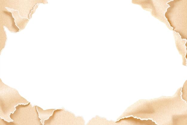 Torn kraft paper effect background in 3d illustration