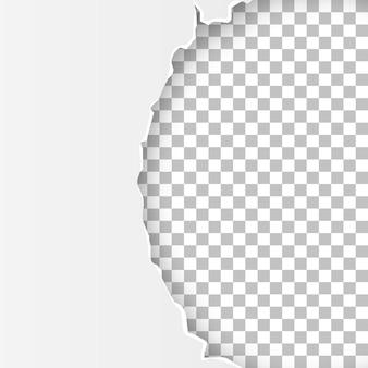 텍스트를 위한 투명한 공간이 있는 찢어진 열린 용지