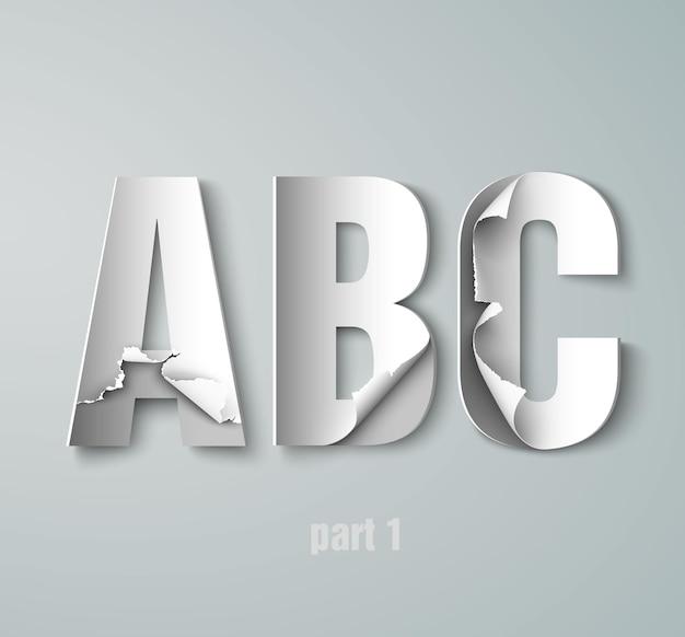 Порванный бумажный алфавит