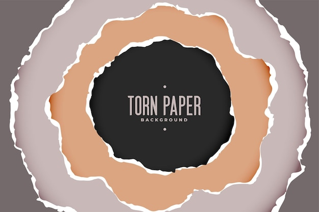 円形スタイルの破れた紙の背景