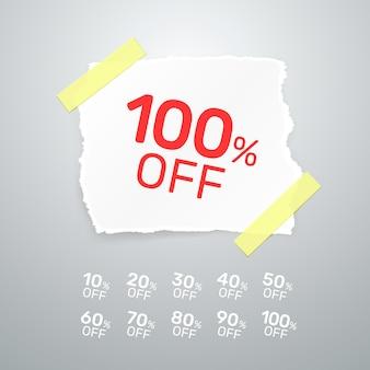 Коллекция разорванных бумажных баннеров с процентной скидкой. векторная иллюстрация