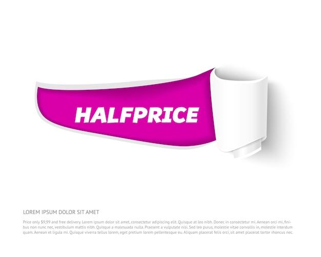 Разорванный бумажный баннер с бумажным рулоном. разорванные листы бумаги с тенью, изолированные на белом фоне. разорванный бумажный шаблон для продажи промо и рекламы.