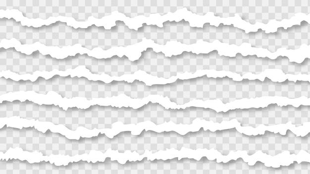 투명 한 배경에 고립 된 현실적인 그림자와 함께 찢어진 된 종이 테두리.