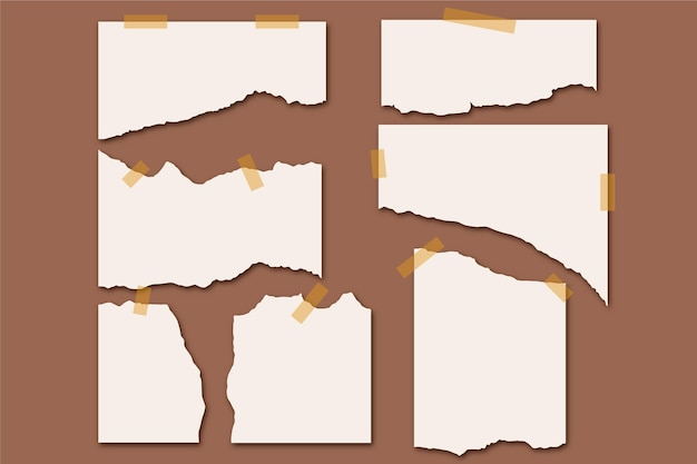 Torn paper collection with tape on brown background