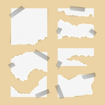 Torn paper in different shapes with tape