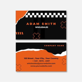 Torn paper double-sided horizontal business card