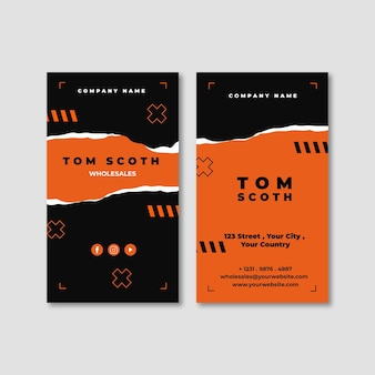 Torn paper double-sided vertical business card