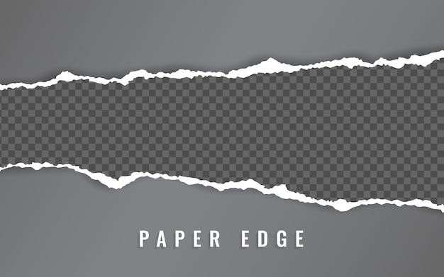 찢어진 종이 가장자리. 찢어진 종이 줄무늬. 사각형 수평 종이 스트립을 찢었습니다.