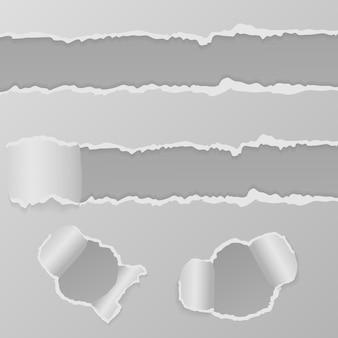 破れた紙の端と丸い穴のセット