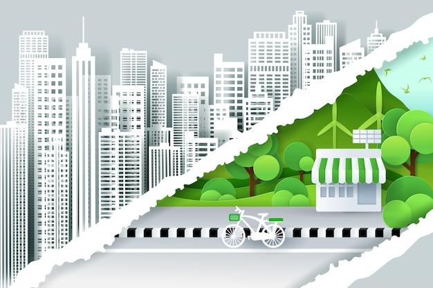 Рваные бумажные края для столицы и зеленого эко-города, спасение мира и концепция зеленой энергии. Premium векторы