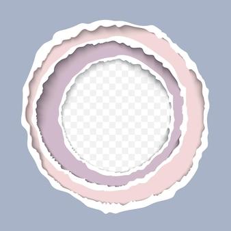 破れた紙フレームの丸い穴と破れたエッジの現実的なベクトル図 Premiumベクター