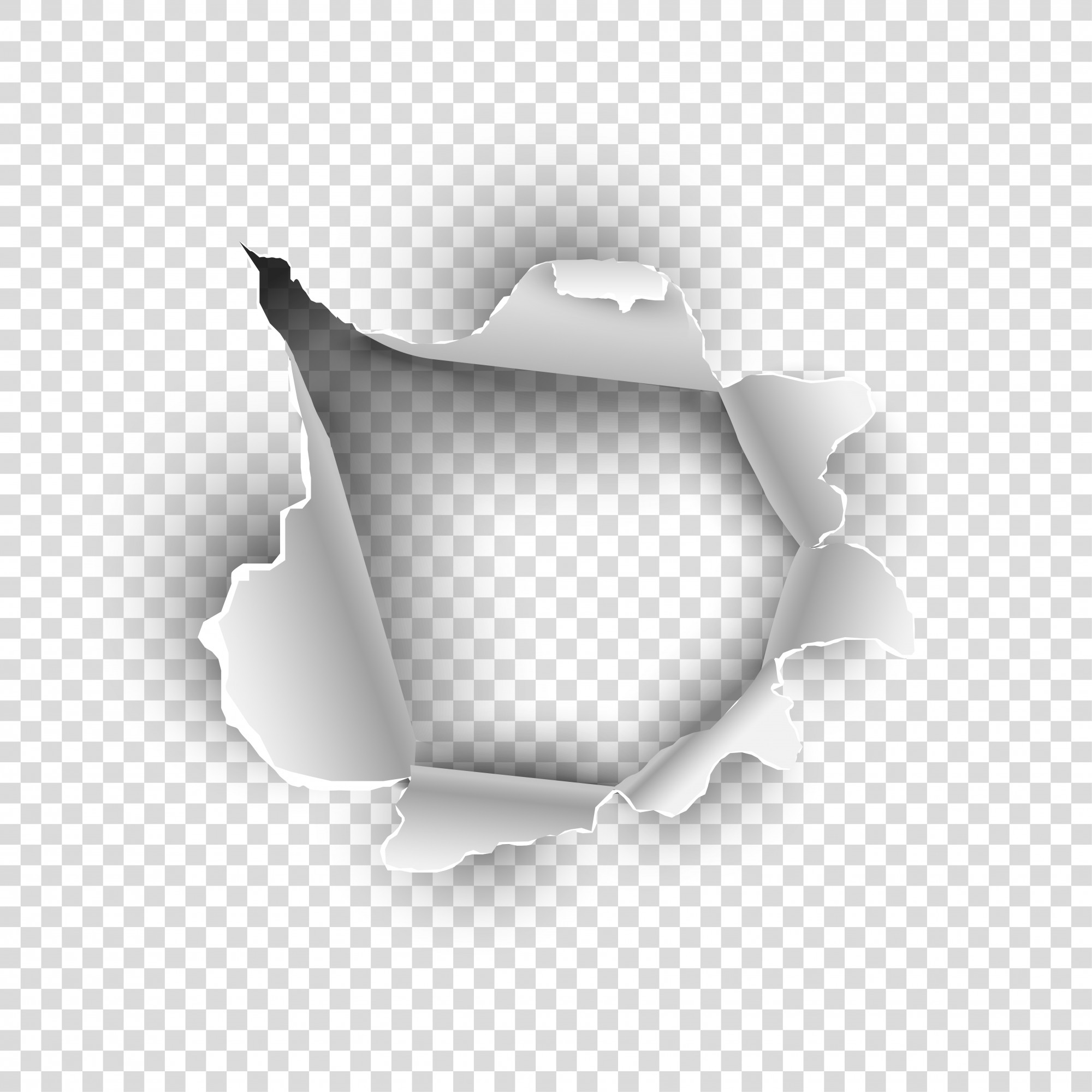 Torn paper or sheet texture on transparent background.