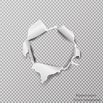 破れた紙の現実的な透明な背景に紙のシートの穴。
