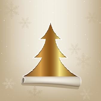 찢어진 된 종이 금 크리스마스 트리를 공개