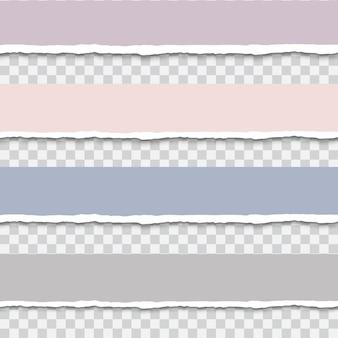 Torn paper strip set realistic vector illustration tear paper edges for banner, header, divider and print design