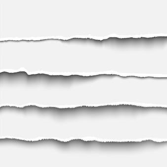 찢어진 종이 스트립은 배너, 머리글, 구분선 및 인쇄 디자인을 위한 현실적인 벡터 그림 찢어진 종이 가장자리를 설정합니다. 흰 눈물 종이 템플릿