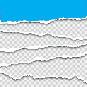 引き裂かれた紙片コレクション現実的なベクトルブレーク紙のエッジが分離されました