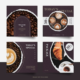 Torn paper style social media promotion post template set