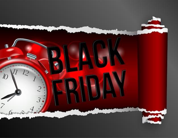 Рваная бумага с отверстием, показывающим надпись черной пятницы и реалистичный красный будильник. шаблон этикетки для рекламы розничной продажи, скидки или специального предложения. образец для вашего баннера