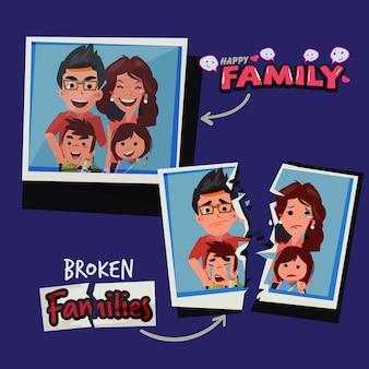 슬픈 가족의 사진과 함께 찢어진 된 종이입니다. 깨진 가족 개념