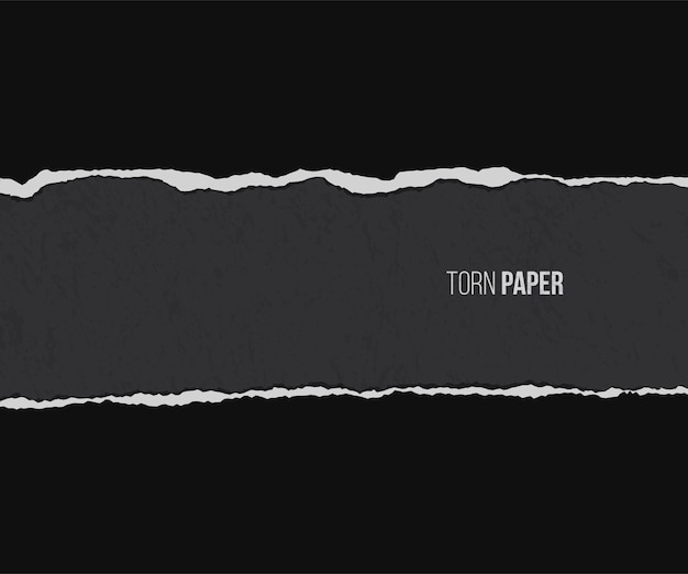 Torn paper with shadow isolated on grunge black background.