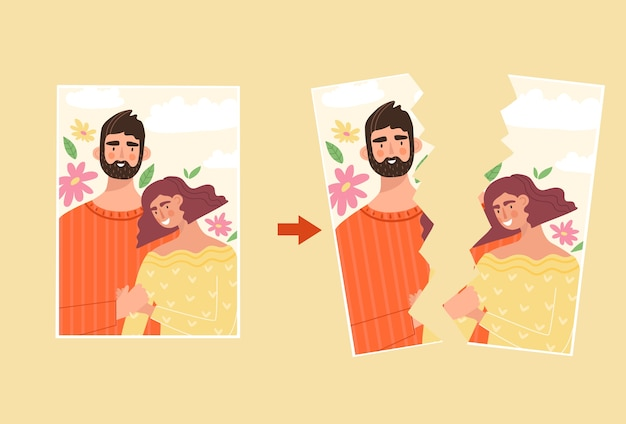 Torn photography of happy family. man and woman on the photography. misunderstanding in family, divorce concept. crisis in a relationship, break up. illustration in flat style.