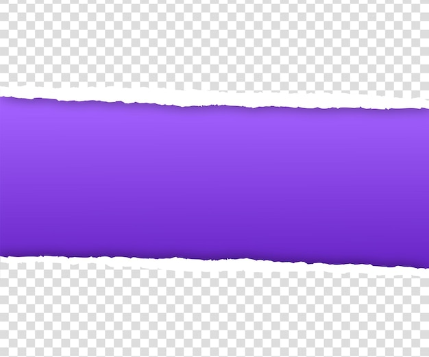 Torn purple paper edge on transparent