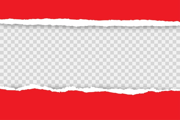 Torn red papers on transparent
