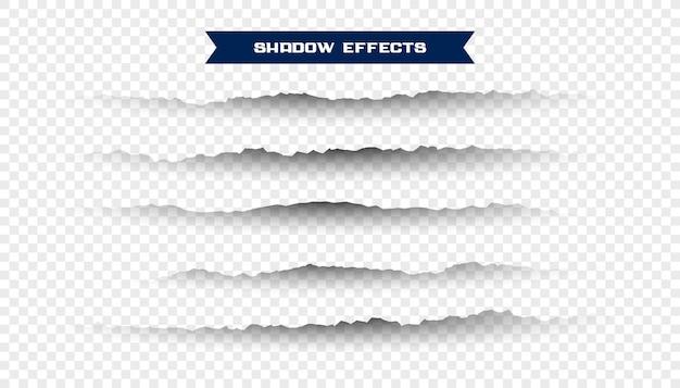 Set di ombre di carta strappate strappate