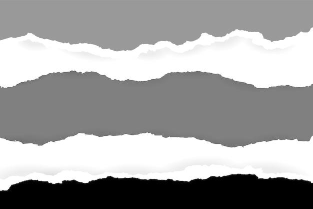 부드러운 그림자가 있는 찢어지고 찢어진 수평 파란색 종이는 텍스트의 제곱 회색 배경에 있습니다. 벡터 일러스트 레이 션