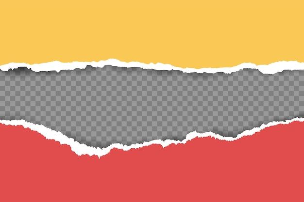 부드러운 그림자가 있는 찢어지고 찢어진 가로 노란색 종이는 텍스트의 제곱 회색 배경에 있습니다. 벡터 일러스트 레이 션