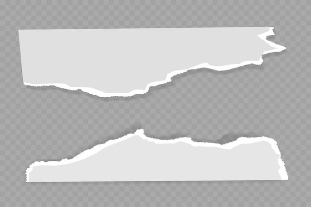 부드러운 그림자가있는 흰색과 회색 종이의 찢어진, 찢어진 조각은 텍스트의 회색 제곱 배경에 있습니다.