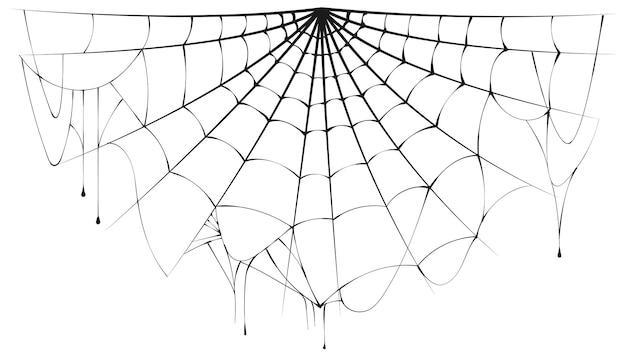 Разорванная полукруглая паутина на белом фоне. векторная иллюстрация хэллоуин