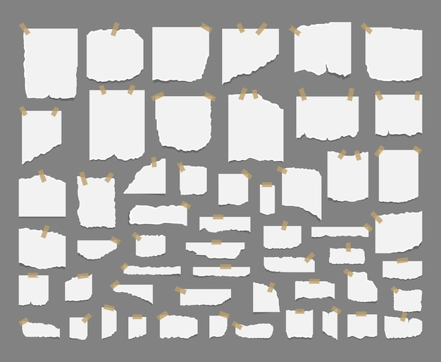 노트북 흰색 시트의 찢어진 시트와 찢어진 종이 조각