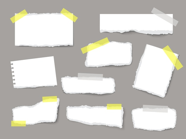 Torn sheets of paper set with strips and pieces of paper on a dark background realistic vector template