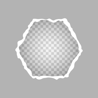 破れた正方形の紙、透明な背景の紙の穴。ベクトルイラスト。