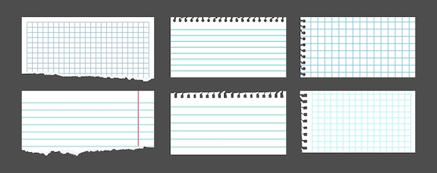 Torn white note set. notebook paper sheets in a cage, in a line, pieces ripped note. blank notepad pages. collection empty piece tears paper, sheets scrapbook.  illustration isolated