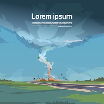 Tornado in countryside hurricane landscape of storm waterspout twister in field natural disaster concept