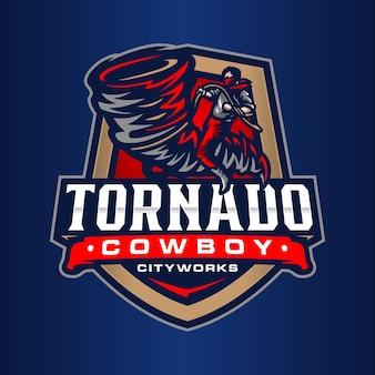 Шаблон логотипа ковбоя торнадо