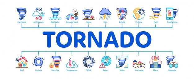 Tornado and hurricane minimal infographic banner