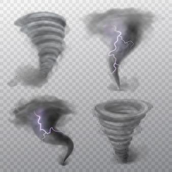 Торнадо. ураганный вихрь с молнией, смерч и удар молнии. вихрь воздушная воронка, сильный ветер вихрь погодный циклон явление 3d реалистичный векторный набор, изолированные на прозрачном фоне