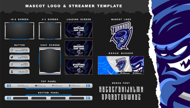 Tornado mascot logo and twitch overlay template